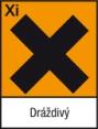 /><br /><br /><span>R36/38: Dráždí oči a kůži.</span><br /><span>S2: Uchovávejte mimo dosah dětí.</span><br /><span>S26: Při zasažení očí důkladně vypláchněte vodou a vyhledejte lékařskou pomoc.</span><br /><span>S37/38: Používejte vhodné ochranné rukavice a brýle nebo obličejový štít.</span><br /><span>S46: Při požití okamžitě vyhledejte lékařskou pomoc a ukažte obal nebo toto označení.</span></p></div></div><div class=
